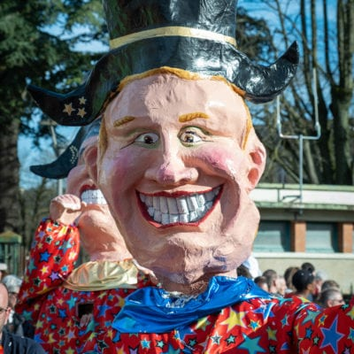 This year is the 100th edition of the Carnival of Chalon-sur-Saone. Sunday 23rd February is the day of the Goniots with a big cavalcade in the town centre. Chalon-sur-Saone, 23 February 2020. Cette annee c'est la 100e édition du Carnaval de Chalon-sur-Saone. Dimanche 23 fevrier c'est la journee des Goniots avec une grande cavalcade en centre ville. Chalon-sur-Saone, 23 février 2020.