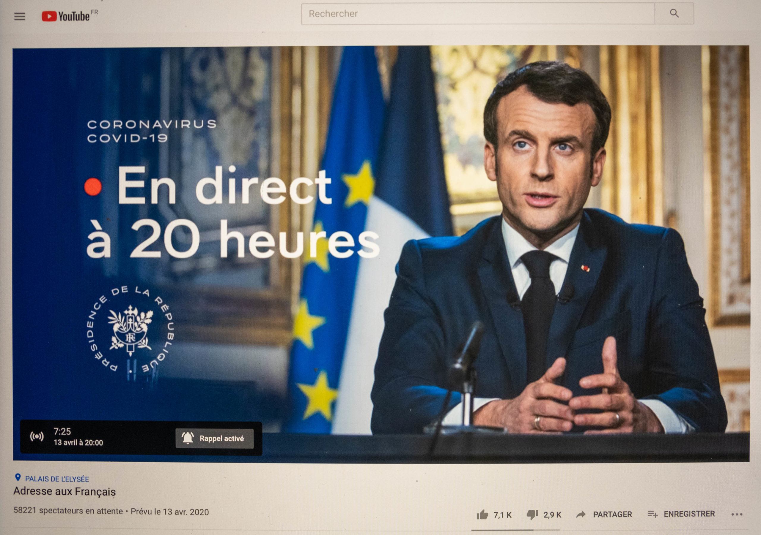 President Emmanuel Macron addresses the French.13 April 2020.