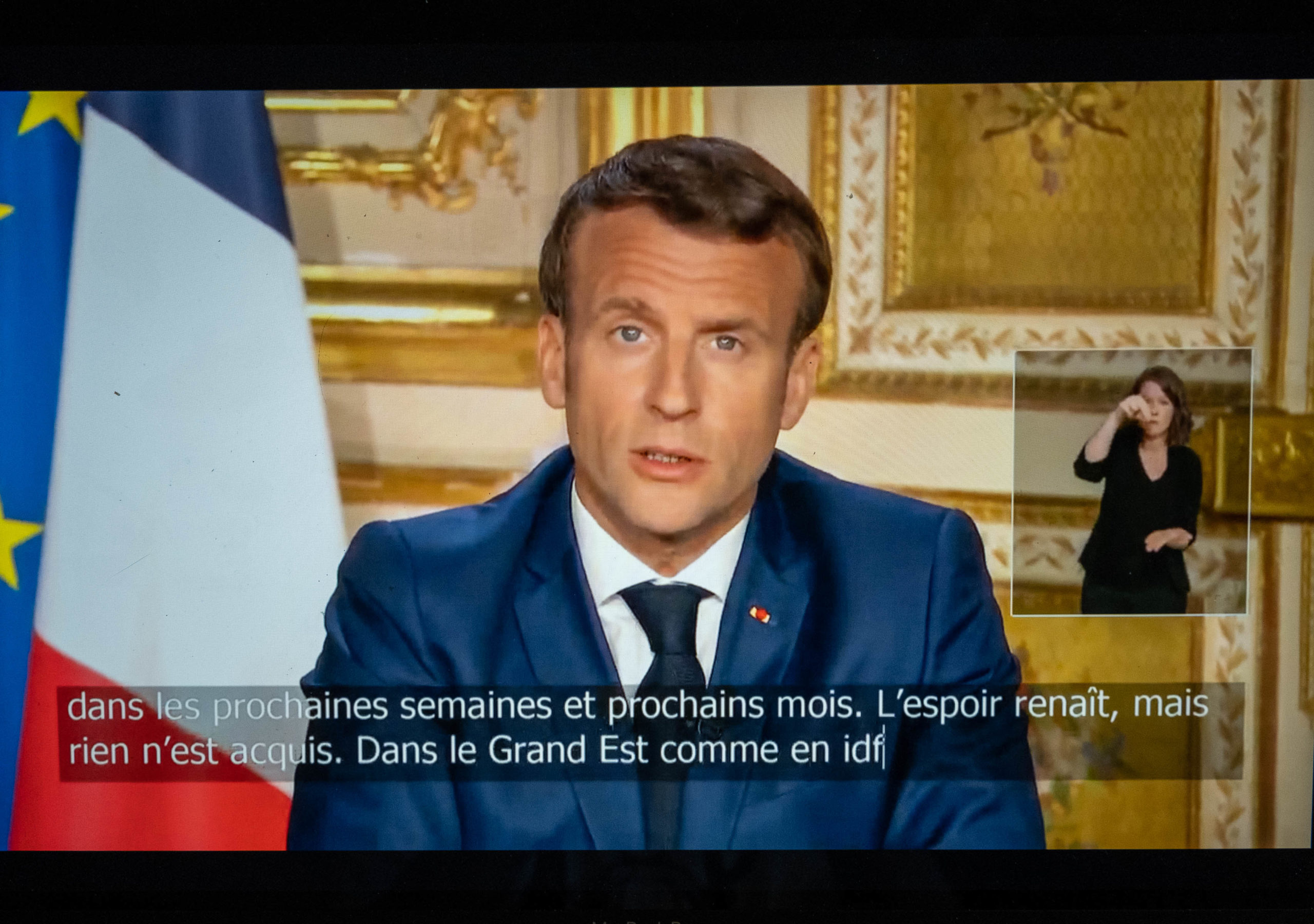 President Emmanuel Macron addresses the French.13 April 2020. Le president Emmanuel Macron s'adresse au Francais.13 avril 2020.