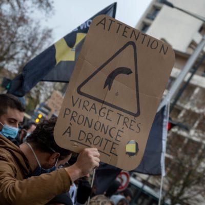 Demonstration against the Liberticide Laws. Dijon, 5 December 2020. Florian Jannot-Caeillete / APJ / Hans Lucas. Manifestation contre les Lois liberticides. Dijon, le 5 décembre 2020. Florian Jannot-Caeillete / APJ / Hans Lucas.