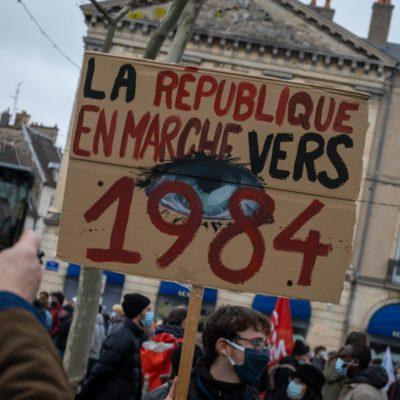 Demonstration against the Liberticide Laws. Dijon, 5 December 2020. Florian Jannot-Caeillete / APJ / Hans Lucas.Manifestation contre les Lois liberticides. Dijon, le 5 décembre 2020. Florian Jannot-Caeillete / APJ / Hans Lucas.