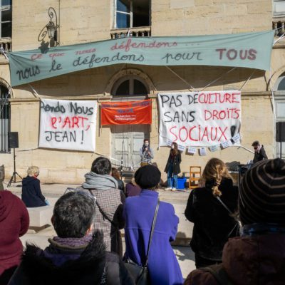 """The theatre of Dijon in the Cote d'Or is occupied by intermittent workers. Every day an """"Agora"""" to exchange with the public. Dijon, 20 March 2021. Florian Jannot-Caeillete / APJ / Hans Lucas.Le theatre de Dijon en Cote d'Or est occupe par des intermittents. Chaque jour une """"Agora"""" pour echanger avec le public. Dijon, 20 mars 2021. Florian Jannot-Caeillete / APJ / Hans Lucas."""