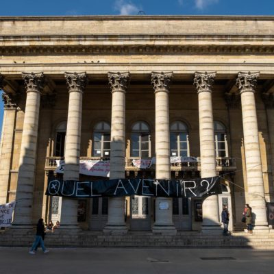 """The theatre of Dijon in the Cote d'Or is occupied by intermittent workers. Every day an """"Agora"""" to exchange with the public. Dijon, 20 March 2021. Florian Jannot-Caeillete / APJ / Hans Lucas. Le theatre de Dijon en Cote d'Or est occupe par des intermittents. Chaque jour une """"Agora"""" pour echanger avec le public. Dijon, 20 mars 2021. Florian Jannot-Caeillete / APJ / Hans Lucas."""