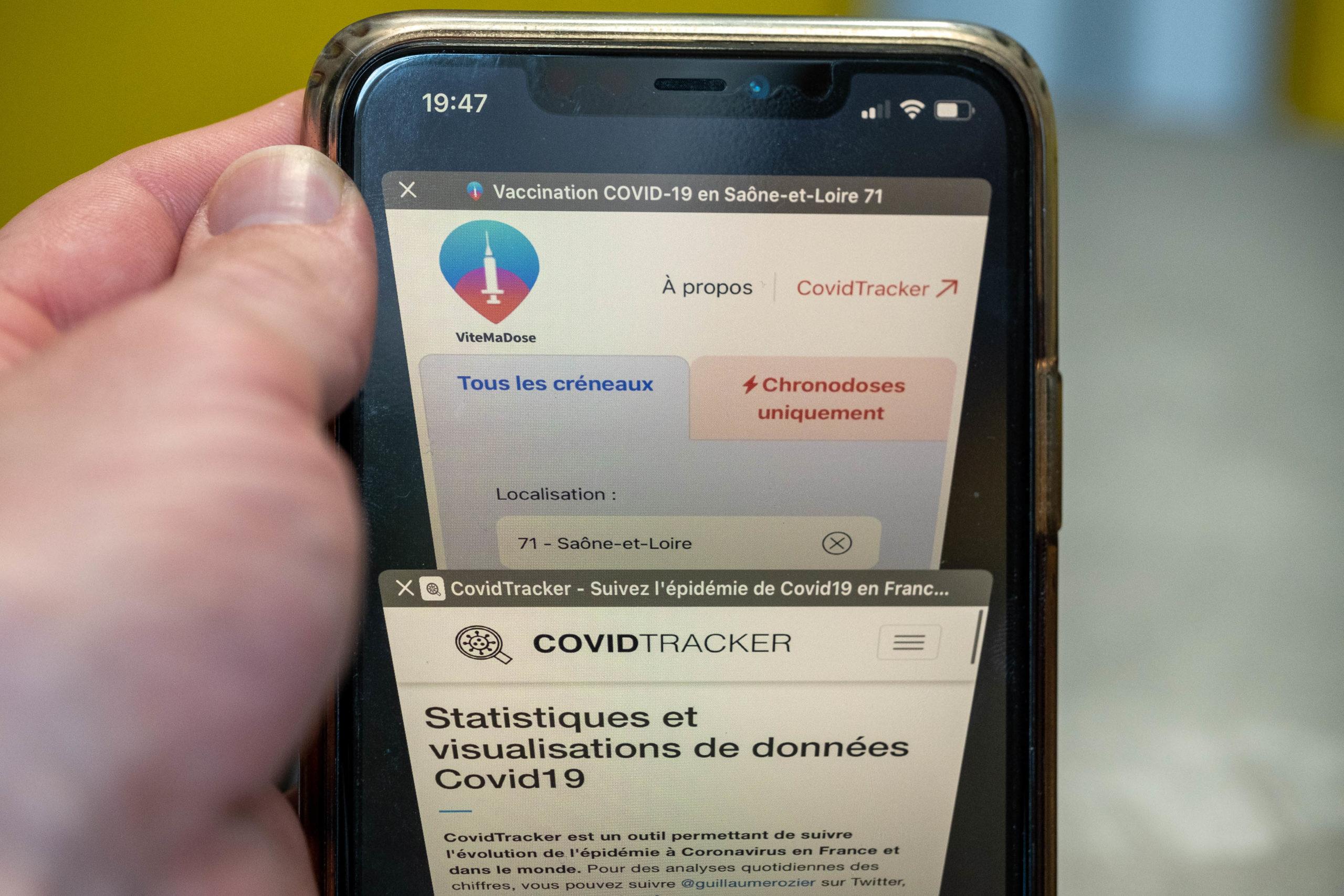 FRANCE, NEVERS, 2021/05/11. Doctolib, CovidTracker, ViteMaDose: tools that have developed with the health crisis. Florian Jannot-Caeillete / APJ / Hans Lucas.FRANCE, NEVERS, 2021/05/11. Doctolib, CovidTracker, ViteMaDose : les outils qui se sont développés avec la crise sanitaire. Florian Jannot-Caeillete / APJ / Hans Lucas.