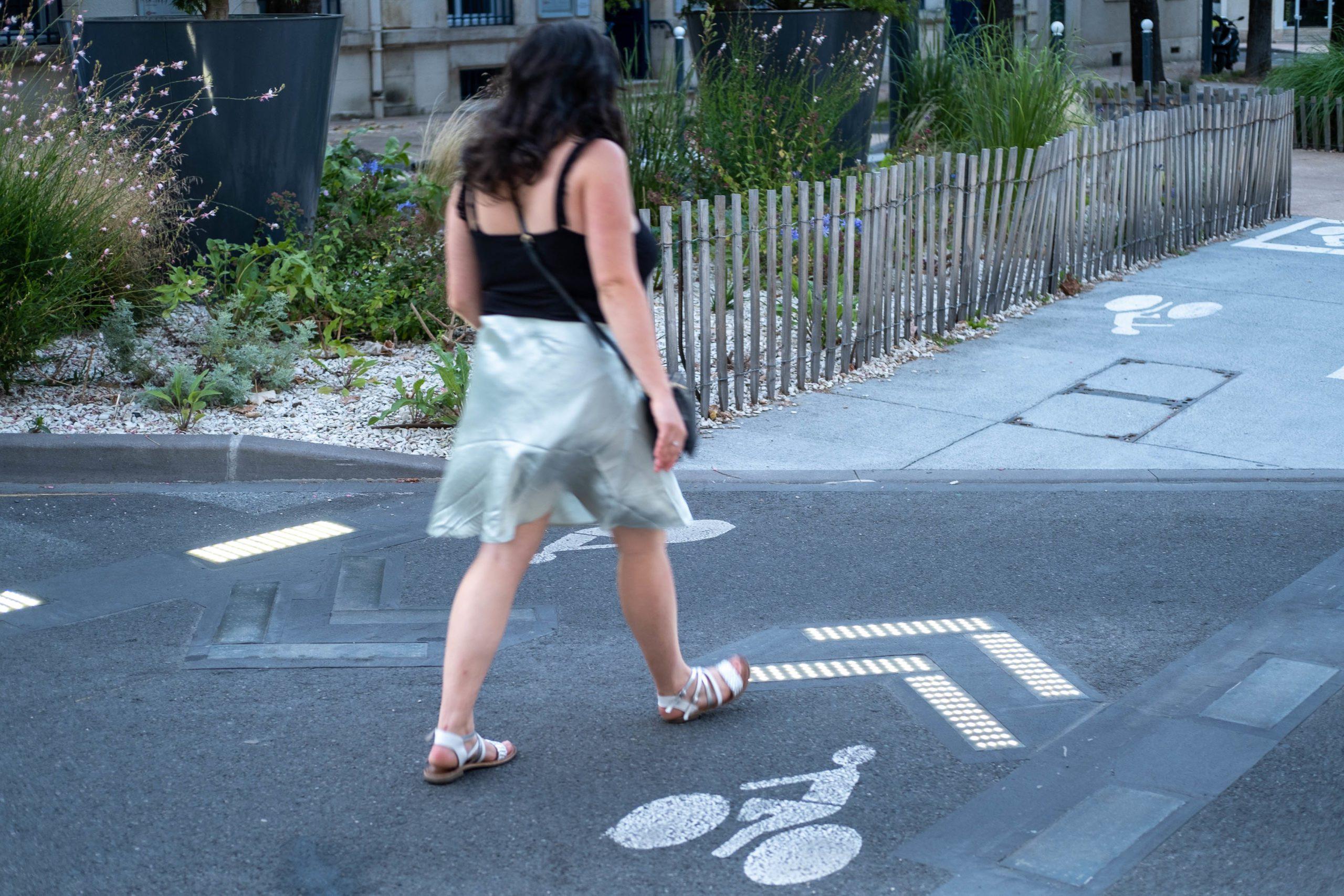 FRANCE, NEVERS, 2021/07/30. Illuminated crosswalk. Florian Jannot-Caeillete / APJ / Hans Lucas. FRANCE, NEVERS, 2021/07/30. Passage pieton lumineux. Florian Jannot-Caeillete / APJ / Hans Lucas.
